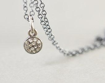 Diamond Disc Oxidized Sterling Necklace, Genuine Diamond Necklace, Brides Gift, Minimalistic