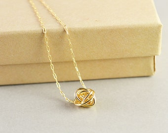 Gold Knot Necklace, Knot Jewelry, Love Knot, Everyday Necklace, Bridesmaid Necklace, Tie The Knot