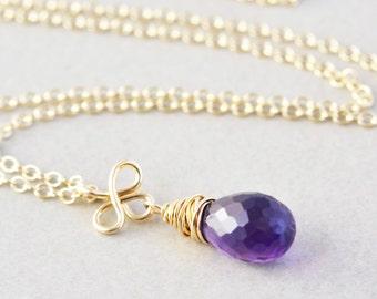 Amethyst Drop Necklace, February Birthstone Jewelry, Gemstone Necklace