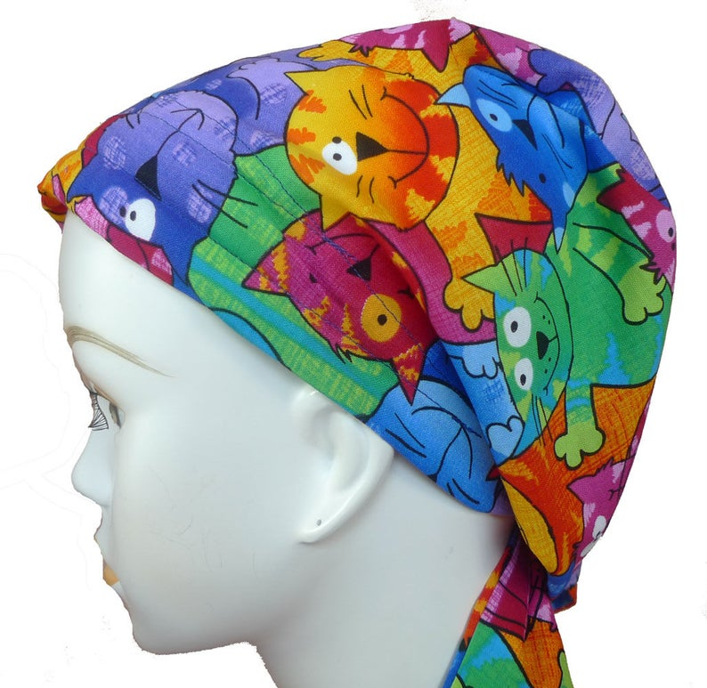 Cool Happy Cats Cancer Chemo Cotton Hat Scarf Cap Head Wrap image 0