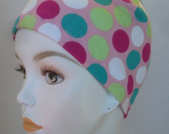 Pink Cancer Chemo Sleep 100% Cotton Cap Scarf Liner Hat with multi color dots
