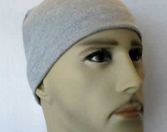 Men's Gray Skull Cap Bike Hat Knit Running CPAP Soft Cotton Blend Sleep Cap