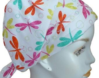 Cheerful Fun Dragonfly Alopecia Chemo Hat Fitted Cancer 100% Cotton Head Scarf Hair Loss Head Wrap Turban