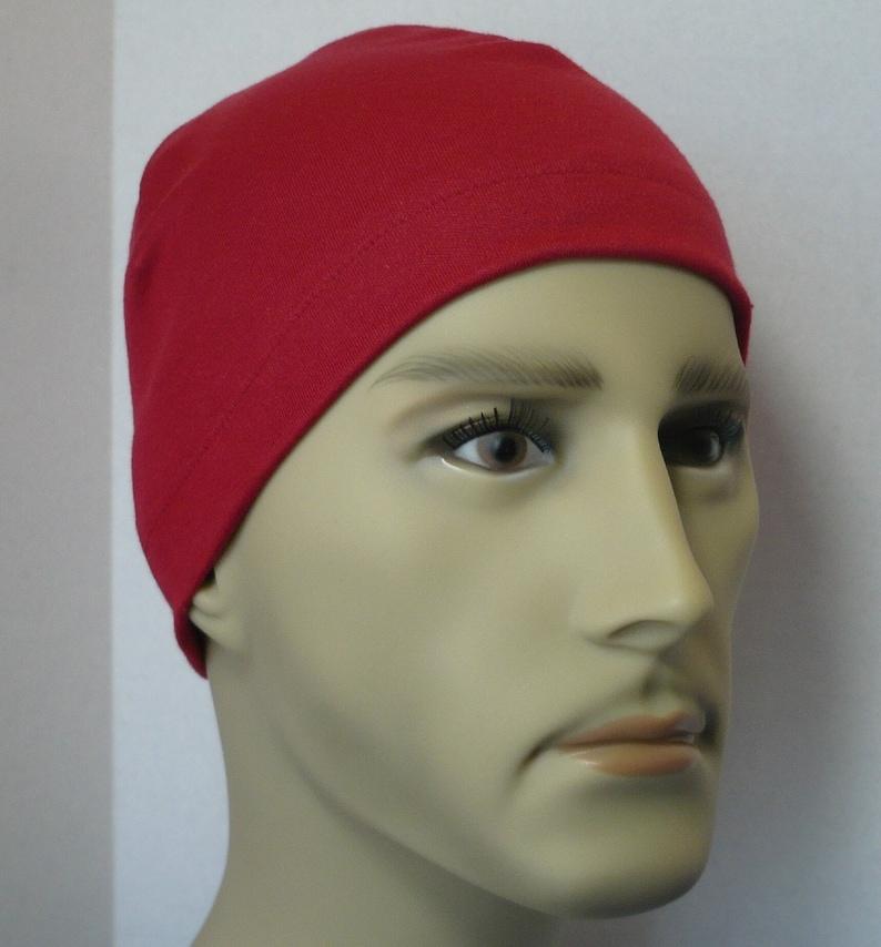 723709efa45 Men s Red Skull Cap Hat Knit Running CPAP Sleep Cap Cotton