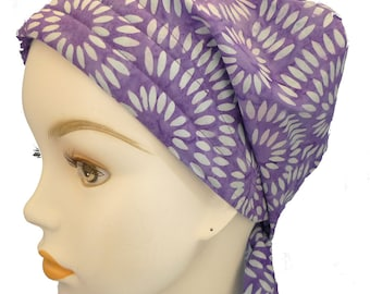 Hand Dyed Batik Cancer Hat Chemo Scarf Cap Head Wrap Turban Hair Loss Head Cover Bad Hair Day Calypso 45