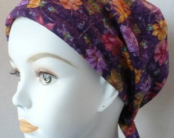 Beautiful Purple Floral Womens Cancer Hat Chemo Scarf Cap Head Wrap Alopecia Turban Hair Loss Headcovering Bad Hair Day