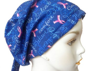 Womans Cancer Awareness Pink Ribbon Hair Loss Cancer Hat Chemo Scarf Cap