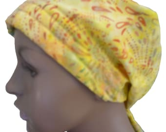 Hand Dyed Batik Cancer Hat Chemo Scarf Head Wrap Pale Yellow Hair Loss Head Cover Bad Hair Day Calypso 11