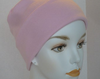 Pretty Soft Pink Rolled Cuffed Cancer Chemo Hat Cap Cotton Poly Interlock