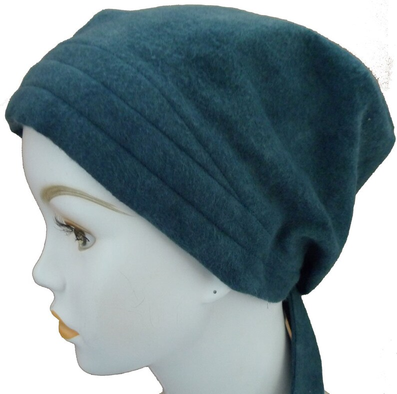 Teal Soft Flannel Hat Chemo Scarf Head Wrap Hair Loss Turban image 0