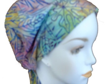 Hand Dyed Batik Cancer Hat Chemo Scarf Cap Head Wrap Turban Hair Loss Head Cover Bad Hair Day Calypso 41