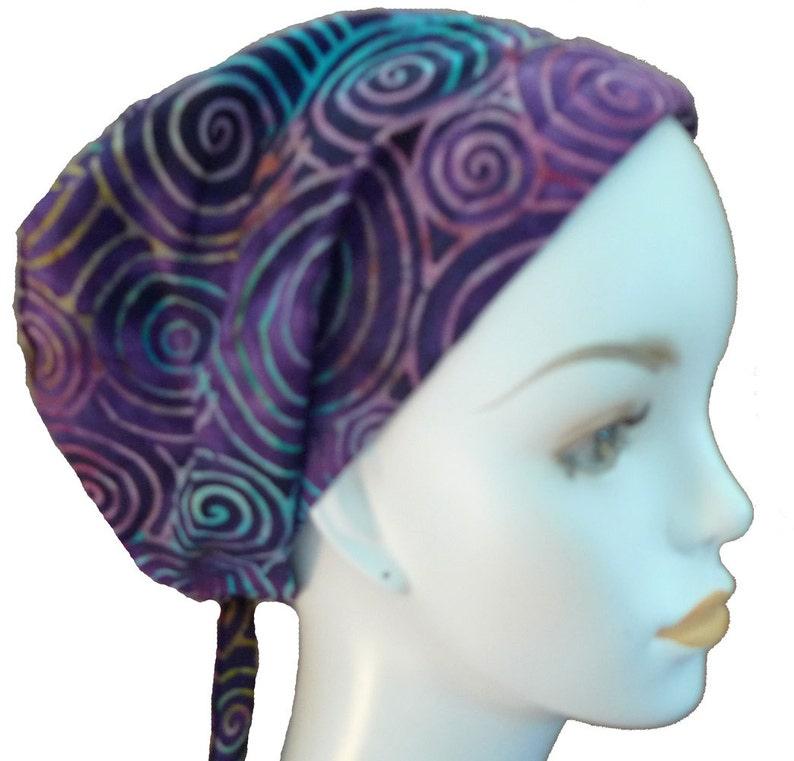 Purple Hand Dyed Batik Cancer Hat Chemo Scarf Head Wrap Hair image 0
