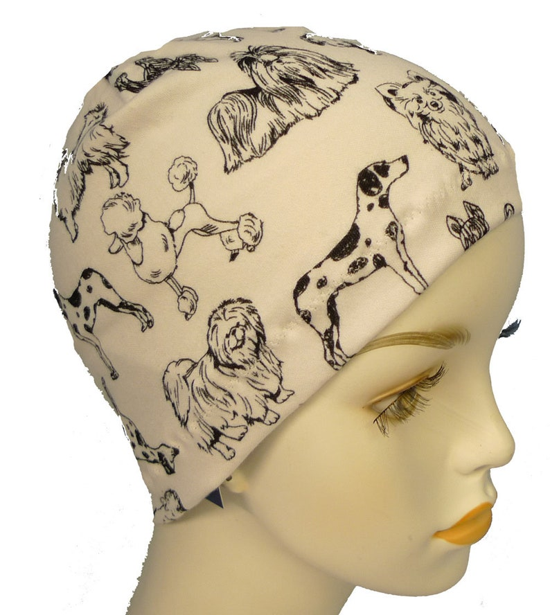 Ladies Dog Lover Sleeping Cancer Hat Chemo Scarf Liner Cap image 0