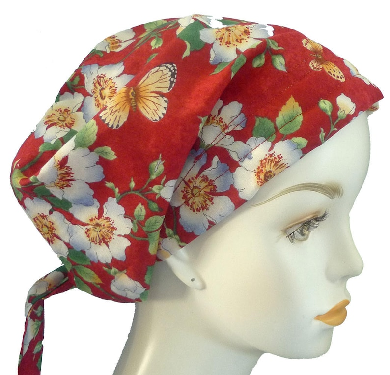 Red Floral Butterfly Chemo Cancer Hair Loss Scarf Turban Hat image 0
