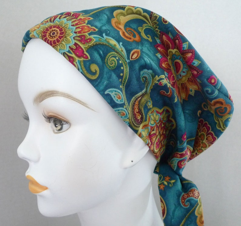 Women's Teal Floral Fitted Chemo Scarves Cancer Hat Turban image 0