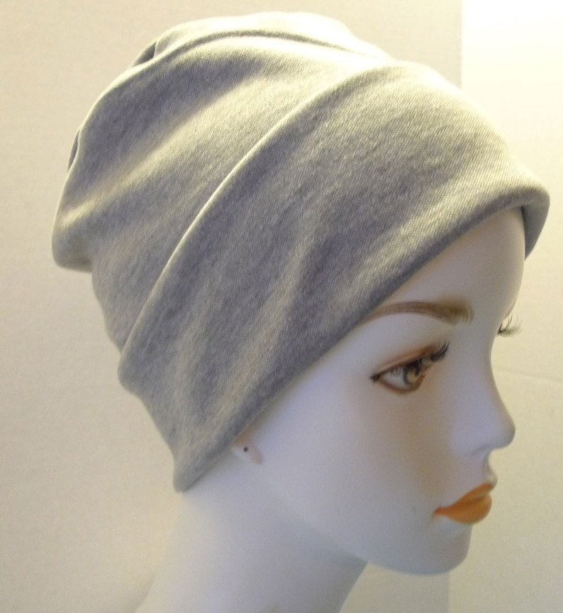Soft Gray Rolled Cuffed Cancer Chemo Hat Cap Cotton Poly image 0