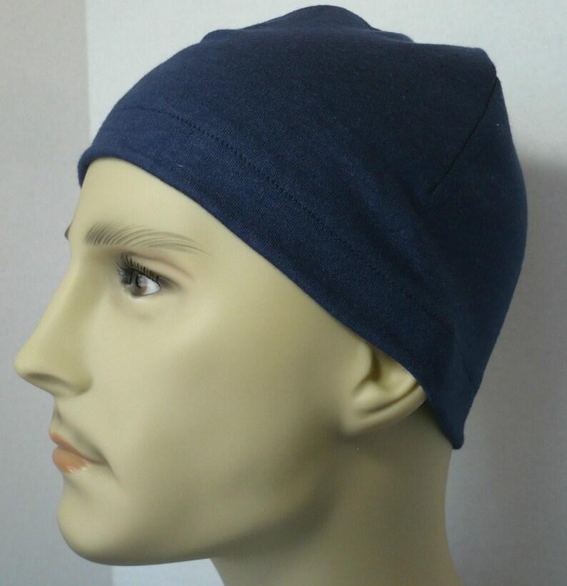 Men's Navy Blue Skull Cap Bike Hat Knit Running CPAP Sleep image 0