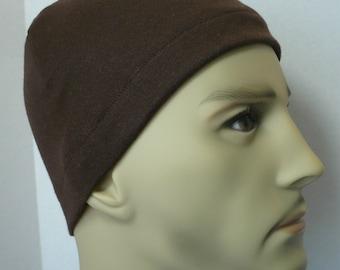 Men's Brown Skull Cap Bike Interlock Running CPAP Sleep Cap Hat