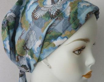 Blue Asian Cranes Cancer Chemo Scarf Hat Turban Hair Head Wrap Cap Hair Loss Alopecia Headcover
