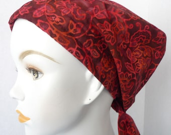 Red Floral Batik Cancer Hat Chemo Cream Scarf Head Wrap Hair Loss Turban Headcovering Bad Hair Day Hat