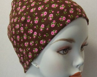 Brown Floral 100% Cotton Sleep Cap Cancer Chemo Scarf Liner Hat