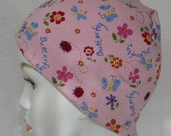 Cheerful Pink Butterfly 100% Cotton Sleep Cap Cancer Chemo Scarf Liner Hat
