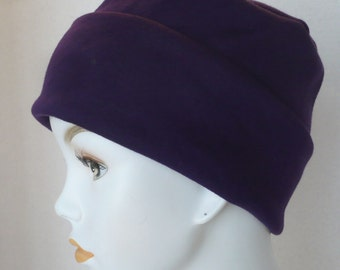 Blackberry Purple Rolled Cuffed Cool Weather Cancer Chemo Hat Soft Cotton Poly Interlock Cap