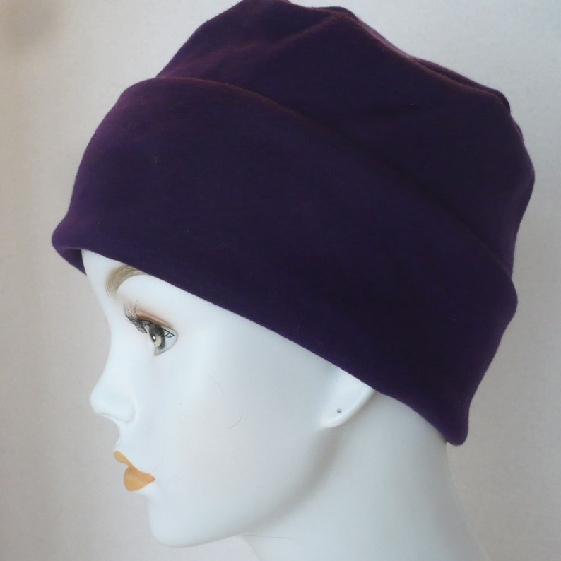 Blackberry Purple Rolled Cuffed Cool Weather Cancer Chemo Hat image 0