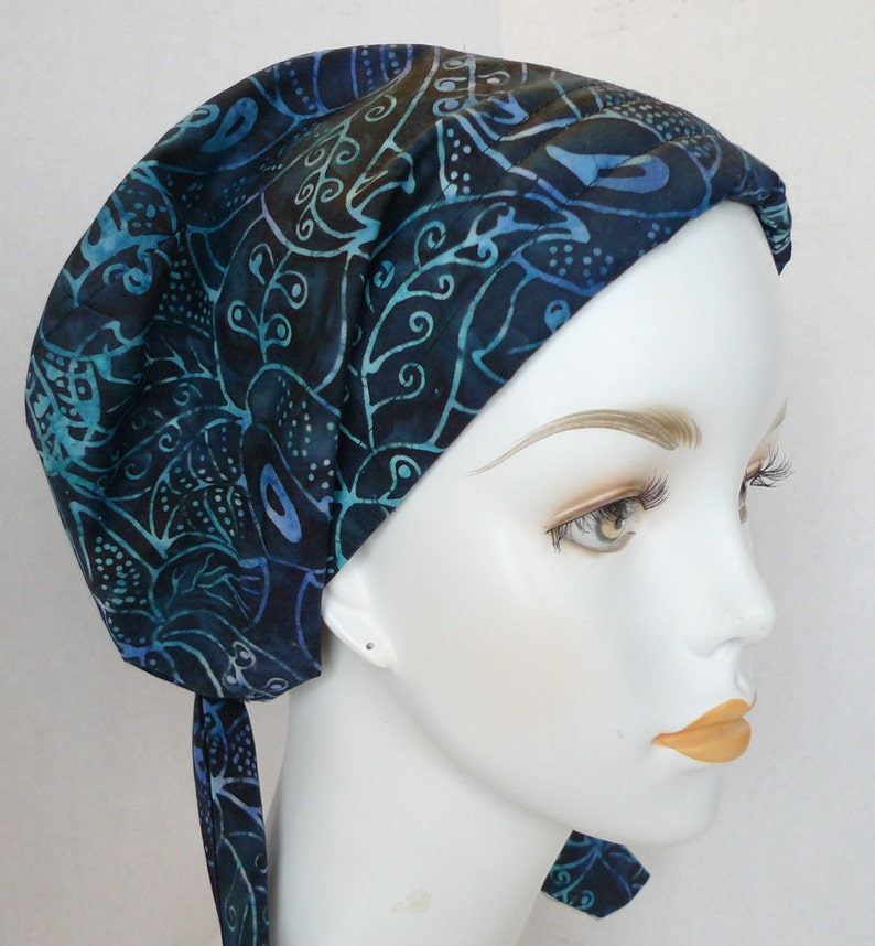 English Traditions Batik Hand Dyed Navy Floral Cancer Hat image 0