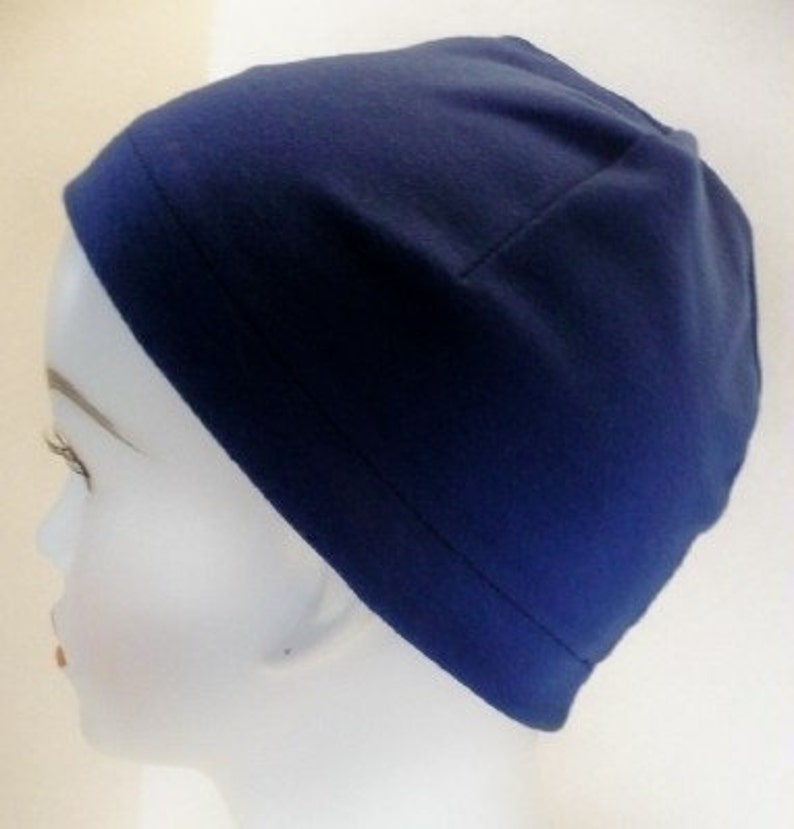 Ladies Navy Soft Sleep Cap Cancer Chemo Hat Scarf Liner Cap image 0