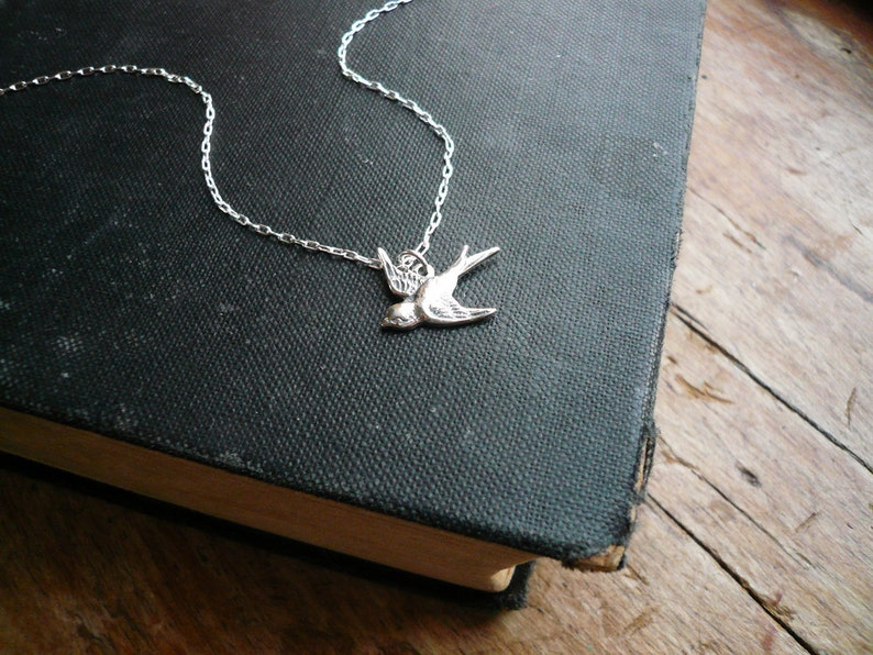 Tiny Silver Sparrow Necklace in Sterling Silver  Silver Bird image 0