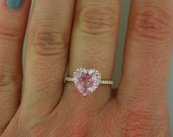 Heart engagement ring. Pink heart ring. 2.31ct Peach pink sapphire ring 14k rose gold diamond ring. Heart sapphire ring by Eidelprecious