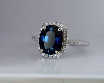 Jet blue sapphire engagement ring. White Gold Engagement Ring 2.7ct Deep Blue Sapphire cushion halo engagement ring 14k white gold.