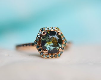 Blue Green sapphire engagement ring. Peacock sapphire Hexagon halo blue green diamond ring 14k Rose gold ring by Eidelprecious