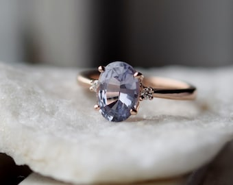Blue grey sapphire ring. Engagement Ring. Rose gold engagement ring. Sapphire ring 3 stone ring by Eidelprecious