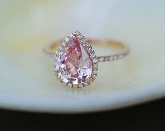 Engagement Ring Peach champagne Sapphire Engagement Ring 14k Rose Gold 1.76ct, Pear Peach. Sapphire Ring. Engagement ring