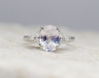 White sapphire engagement ring. color change sapphire ring 3.07ct oval diamond ring Platinum ring. Trillium Engagement ring Eidelprecious