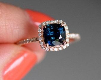 Peacock sapphire engagement ring. 1.42ct square cushion cut blue green sapphire ring diamond ring 14k Rose gold ring by Eidelprecious