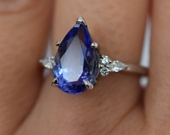 Tanzanite Ring. White Gold Engagement Ring 3.3ct Lavender Blue Tanzanite pear cut Campari design by Eidelprecious.
