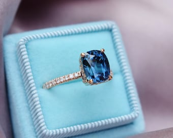 Velvet blue sapphire ring. Cushion violet blue sapphire ring 2.7ct cushion sapphire diamond ring 14k Rose gold ring. Blake by Eidelprecious