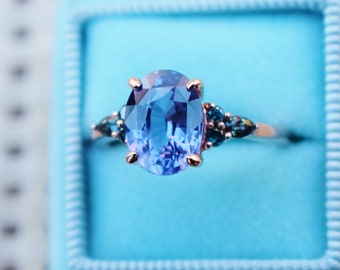 New 2021 collection! Green Campari engagement ring collection. Lavender blue sapphire ring, oval diamond ring 14k Rose gold by Eidelprecious