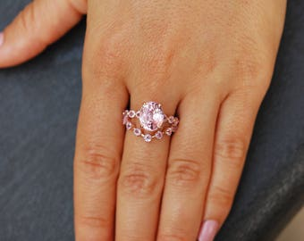 Rose Gold Engagement Ring 4.5ct Peach Pink sapphire engagement ring One of a kind ring and matching band by Eidelprecious