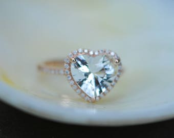 Engagement ring. Heart sapphire rose gold ring. 2.85ct Heart white sapphire 14k rose gold diamond ring engagement ring
