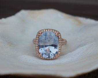 Arctic Blue sapphire engagement ring. 8.4ct cushion sapphire diamond. 14k Rose gold ring. Engagement rings by Eidelprecious.