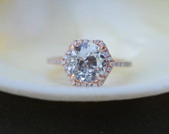 Hexagon Engagement Ring. White Sapphire Ring. 14k Rose Gold 2.2ct Round sapphire engagement ring by Eidelpresious