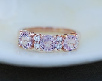 Lavender Peach sapphire anniversary ring  3 stone ring 14k rose gold diamond ring by Eidelprecious.