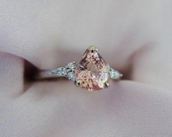 Peach & Cream sapphire engagement ring. White gold ring. Pear Sapphire 2.3ct peach sapphire diamond ring Campari ring by Eidelprecious