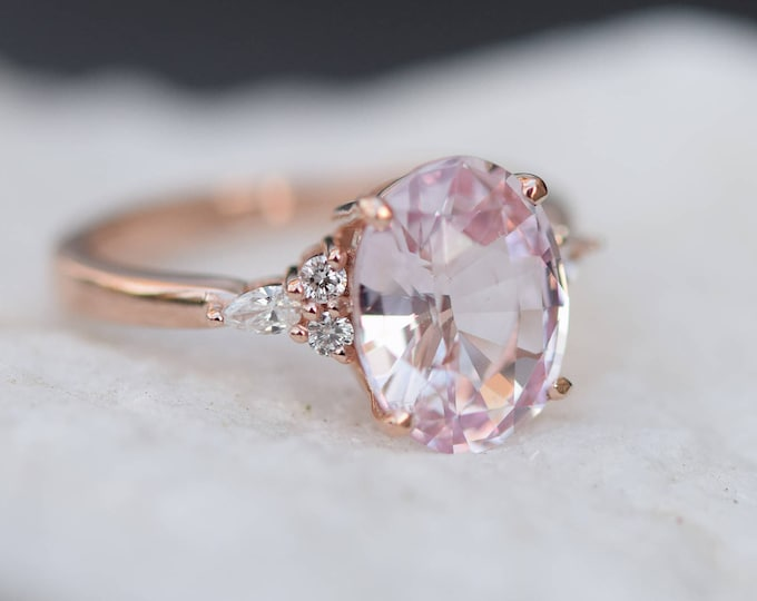 Featured listing image: Blush sapphire engagement ring. Light peach pink sapphire 3.8ct oval diamond ring 14k Rose gold. Campari Engagement ring by  Eidelprecious