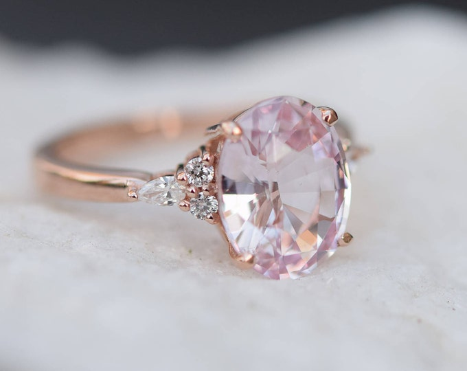 Featured listing image: Blush sapphire engagement ring. Light peach pink sapphire 3.4ct oval diamond ring 14k Rose gold. Campari Engagement ring by  Eidelprecious