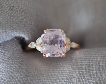 Plat - Lavender sapphire engagement ring color change sapphire ring 4.47ct emerald cut ring Rose gold ring. Trillium Engagement ring